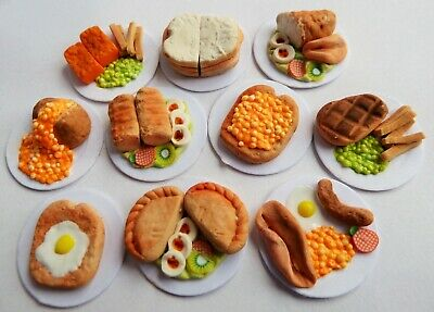 Sylvanian Families * Handmade 10 X Mixed Food On Cardboard Plates * Combined P+P
