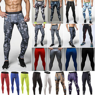 Mens Sport Gym Tights Trousers Compression Base Layer Long Pants Athletic Shorts