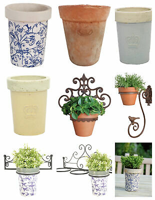 Terracotta Blue Cream Planter with or without Wall Bracket Holder