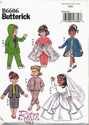 """BUTTERICK SEWING PATTERN 6606 18"""" RETRO/VINTAGE 60s DOLL CLOTHES, TOP DRESS COAT"""