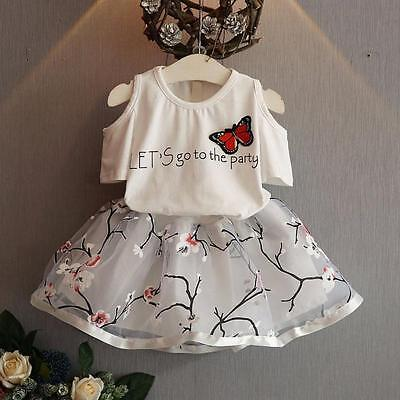 Child Toddler Girl Party Dress Outfits Shirt Tops+Floral Tutu Skirt Clothes KW