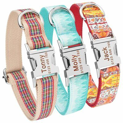 Nylon Personalised Dog Collar Custom Name ID Tags Engraved Buckle Small Large XS
