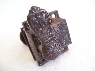 Antique Vintage Eastlake? Door Latch w/Lock,  Lever & Knob Cast Iron Ornate
