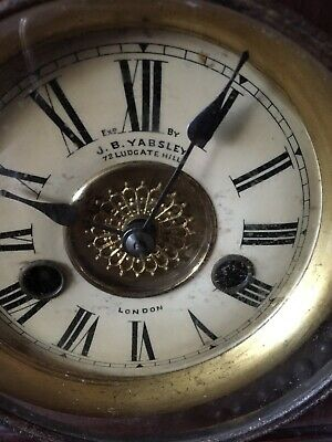 Mantle Clock J B Yabsley Ludgate Hill London strikes on half hour and hour LOOK