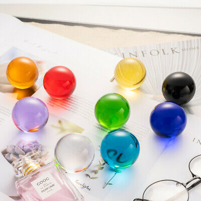 Colorful Crystal Glass Ball Healing Sphere Paperweight Wedding Decor 50mm +Stand