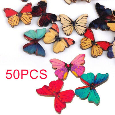 New 10//50pcs Butterfly Wood Buttons 30mm Sewing Craft Two Holes T0832
