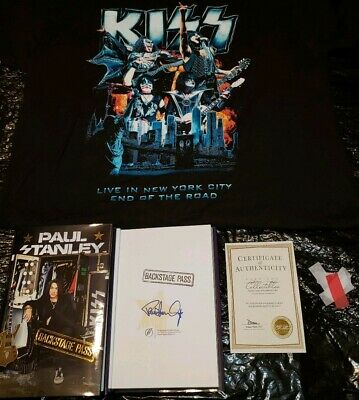 Paul Stanley Signed Backstage Pass Msg Nyc End Of Road 2019 Xl Shirt & Confetti