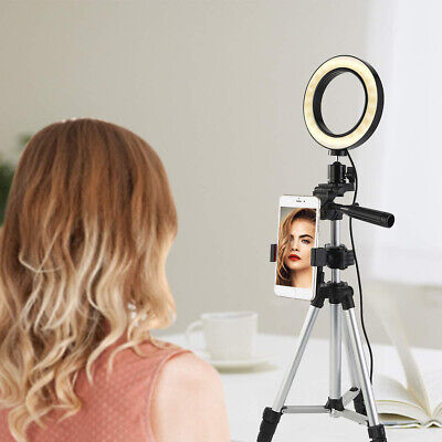 "6.2"" 5500K-2600K LED Ring Light Dimmable W/Stand Tripod For Phone Camera iPhone"