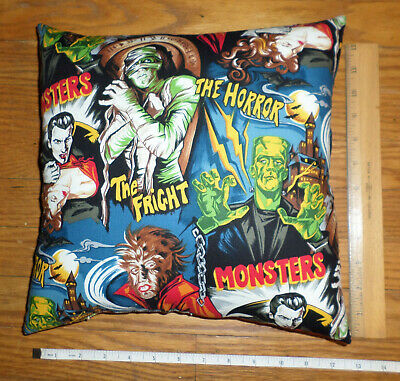 New CLASSIC MOVIE MONSTERS Pillow Frankenstein Dracula Mummy Wolfman - Handmade