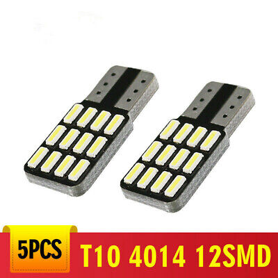 5Pcs T10 Canbus W5W 12SMD LED Car Wedge Light Plate License 168 194 2825 Bulbs