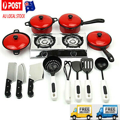 Kids Pretend Kitchen Toy Set Role Play Mini Chef Cookware Cooking Toddler Funny