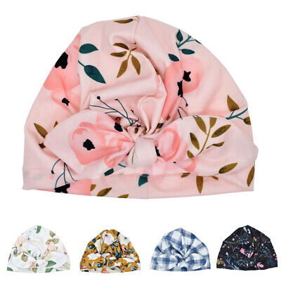 Cute Baby Infant Girls Hats Floral Print Turban Cap Newborn Beanie Knot Headband