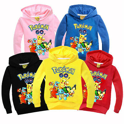 Pokemon Kids Boys Girls Pikachu Hoodies Sweatshirt Pullover Hooded Outwear Tops
