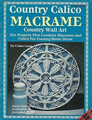 Vintage Country Calico Macramé Pared Decorativo Patrones Libro Manualidades