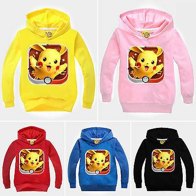 Kids Boys Girls Pokemon Pikachu Long Sleeve Hoodie T-Shirt Casual Sweatshirt Top