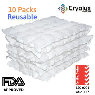 10 x Dry Gel Ice Packs Sheets Reusable-1KG- Cryolux