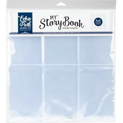 "My Story Book Album Pocket Pages 12""x12"" 10/pkg-(6) 4""x6"" Horizontal Openings"