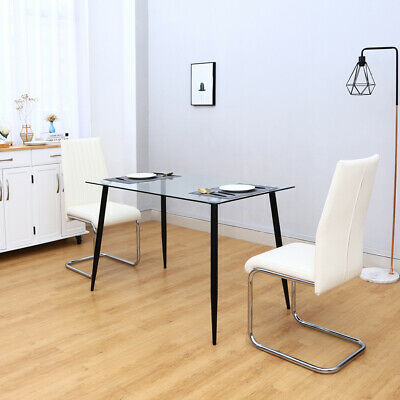 Dining Table Tempered Glass Top And 2/4 PU Leather Chairs With Floor Protection