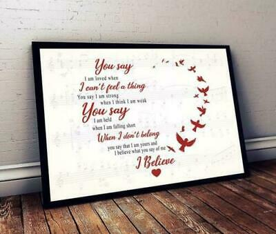 Lauren Daigle You Say Lyrics Horizontal Paper Poster Without Frame US Supplier