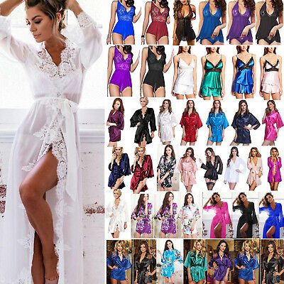 Women Lingerie Robe Kimono Sleepwear Mini Dress Babydoll Nightwear Pajamas Set
