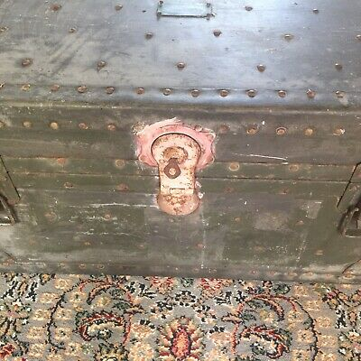 Large Antique military WW2 storage trunk Sidmouth.