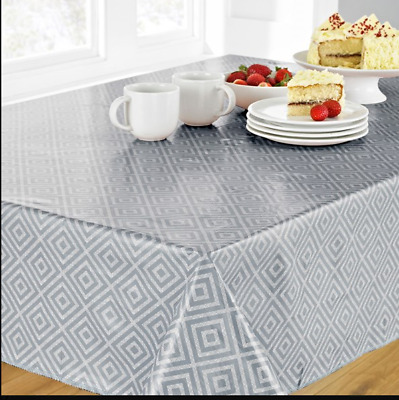SILVER GREY GEO WIPE CLEAN PVC RECTANGLE OBLONG TABLE CLOTH 52x70 INCHES