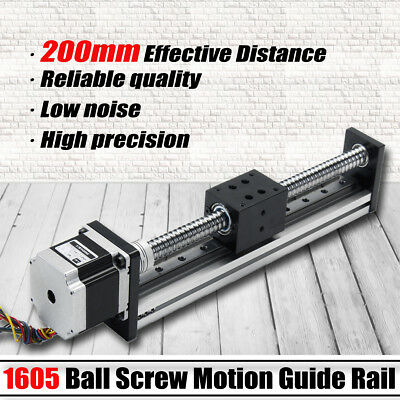 200mm Linear Actuator 1605 Ball Screw Motion Guide Rail +57 Motor For CNC