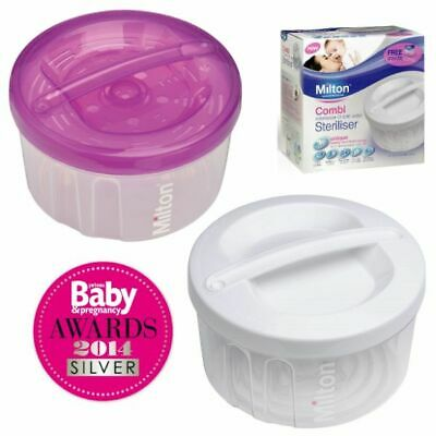 Milton Combi Steriliser Cold Water & Microwave Baby Feeding Sanitiser FREE Tongs