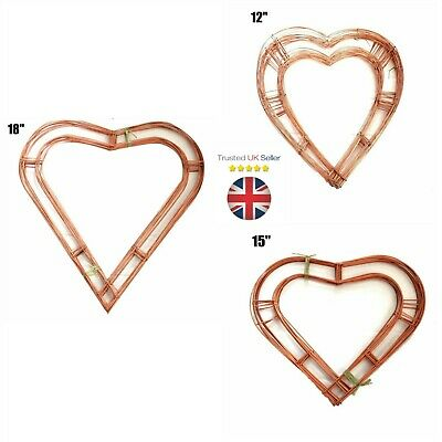 """Wreath Heart Flat Copper Wire Frame Christmas Funeral Xmas 12"""" 15"""" 18"""" UK"""