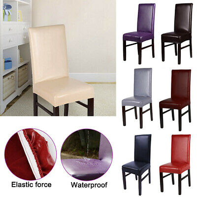 UK Lots Faux Leather Chair Protector Cover Stretch Slipcover Dining Chair Covers