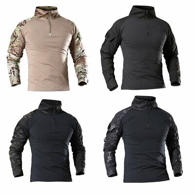 Mens Tactical Military Army Camouflage Long Sleeve T Shirt Combat Tee Tops S-4XL