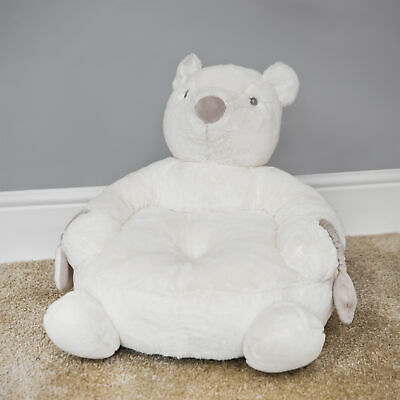 Soft Plush Child's Teddy Bear Arm Chair Nursery White with Rattle