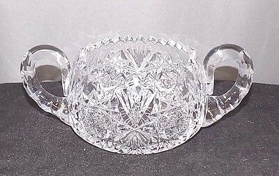 Beautiful Cut Glass 2-Handled Sugar Bowl, Star Design, Indented Bubbles-Handles