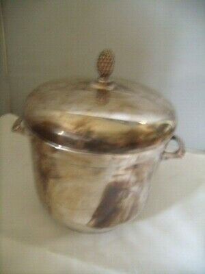 """Vintage Silver Plate Ice Bucket Glass Insert 11"""" Tall"""