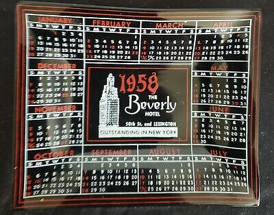 Vintage 1958 The Beverly Hotel New York (The Benjamin) Ashtray Red Houze Glass