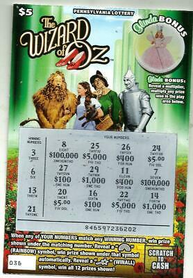 The Wizard Of Oz-Pennsylvania Lottery Losing Scratch-Off Ticket-Collectors Item