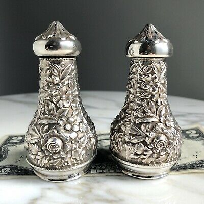 2x S Kirk&Son REPOUSSE Sterling Silver Salt&Pepper 59A SHAKER-97.5g