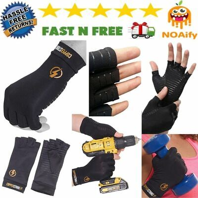 Copper Compression Arthritis Gloves for Hands Wrist Fingerless XL/Extra Large