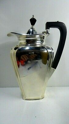 Antique At Deco Silver Plate Coffee Pot Teapot Wedding Gift Inscribed Base Ebony