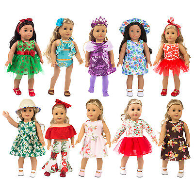 10Sets Handmade Outfits For America 18 inch Doll Girl Dress Skirt Jumpsuits Pant