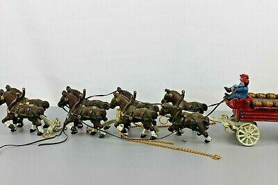 TRUE VINTAGE CAST IRON Horse-Drawn Beer Carriage