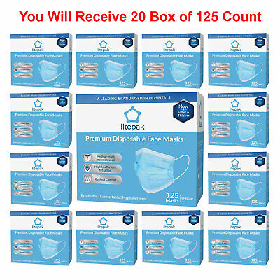 2500pcs Litepak Medical Disposable Face Masks Earloop Dental Surgical Flu Blue