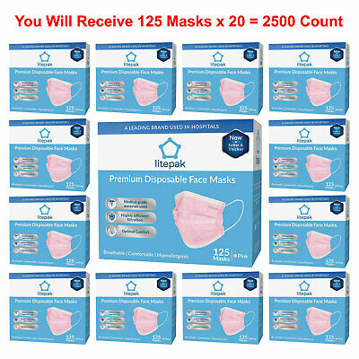 2500pcs Litepak Medical Disposable Face Masks Earloop Dental Surgical Flu Pink