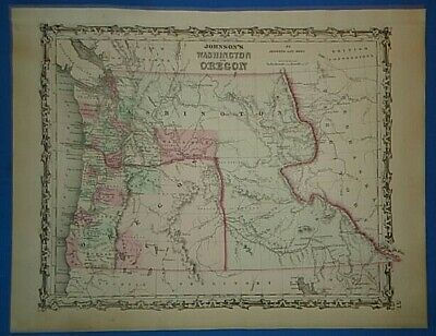 Vintage 1862 WASHINGTON TERRITORY OREGON MAP Old Antique Original JOHNSON'S Map