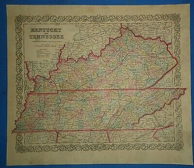 Vintage 1856 KENTUCKY - TENNESSEE Map Old Antique Original COLTON'S Atlas Map