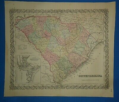 Vintage 1856 SOUTH CAROLINA Map Old Antique Original COLTON'S Atlas Map