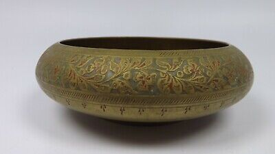 Vintage Antique Ornate Brass Bowl Candy Dish Etched Flowers Made In India