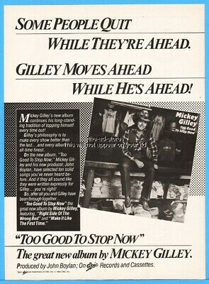 1984 Mickey Gilley Too Good To Stop Now Country Music Album Promo Photo Print Ad
