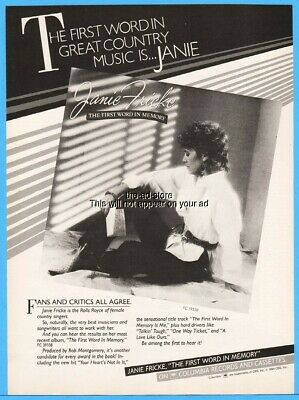 1984 Jamie Fricke The First Word In Memory Country Music Album Promo Print Ad