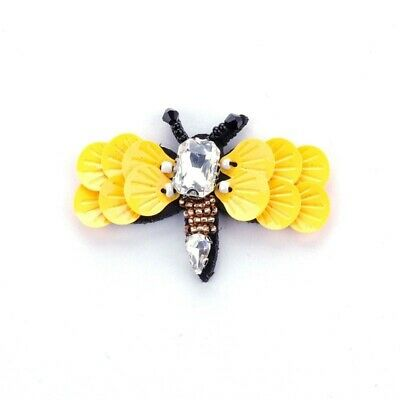 Women Cute Bee Brooches Acrylic Crystal Sequins Jewelry Dresses Pins Scarf Party